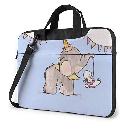 Hdadwy Maletín para portátil de 14 Pulgadas Dumbo Happy Time Maletín para Ordenador portátil Bolso Bandolera para Hombro Funda