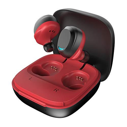 Nouveau Mini Casque Bluetooth de Sport, Casque de Voiture, Facile à Transporter, Bonne qualité sonore, stéréo étanche des Deux côtés, métal, adapté à la Course/Fitness/Android-Red
