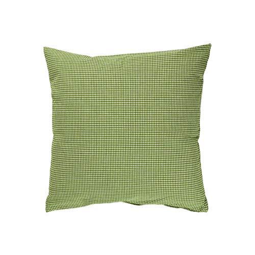 Hans-Textil-Shop Cushion Cover Vichy Checked 2 x 2 mm - Checked Sofa Cushion, Decorative Cushion, Seat Cushion, Decorative Cushion (50 cm x 50 cm, Fern Green)