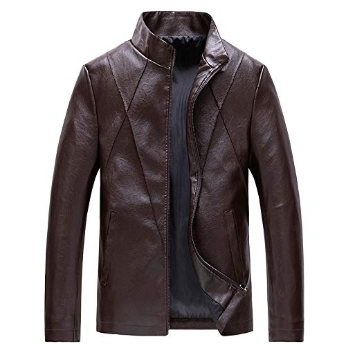 Letdown Accessories Men's Stand Collar Leather Jacket Slim FIt Windproof Regular Motorcycle Lightweight PU Leather Flight Bomber Jacket