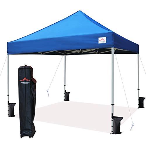 UNIQUECANOPY 10'x10' Ez Pop Up Canopy Tent Commercial Instant Shelter, with Heavy Duty Roller Bag, 10x10 FT Blue