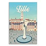 ASFGH Vintage-Reise-Poster Lille La Grand Place Decor