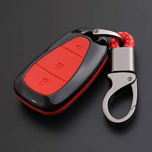 WYZXR 2Sätze Carbon Fiber Print CAR Remote Key Bag Holder CASE Kompatibel Malibu Equinox Cruze Camaro 2016 2017 2018 ZUBEHÖR - Roter 3Button