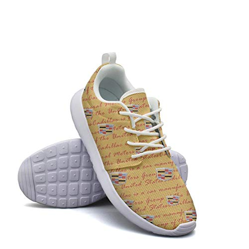 Sneakers for Women Cadillac-for-Sale-Vehicles-Yellow-Logo-Breathable Lightweight Student Athletic Shoes Running