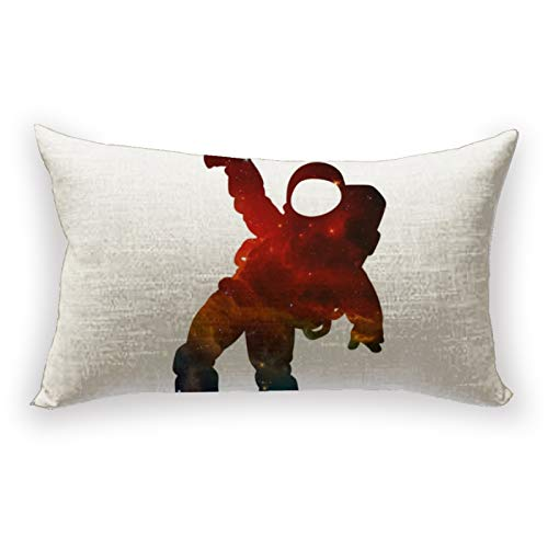 Hustor Funda de almohada de lino y algodón, diseño de silueta de danza de astronauta para sofá, cama, coche, 30,5 x 50,8 cm