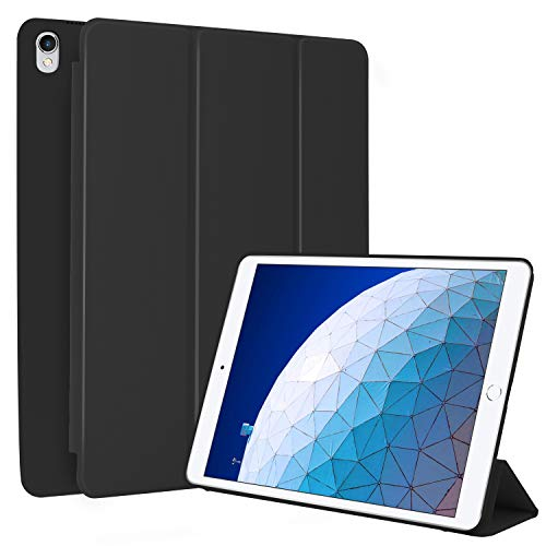 N NEWTOP Cover Compatibile per Apple iPad Air 3 III 10.5' Pollici 2019, Custodia Flip Smart Libro Ori Case Ultra Sottile Leggera Stand Supporto Funzione Wake/Sleep Simil Pelle (Nera)