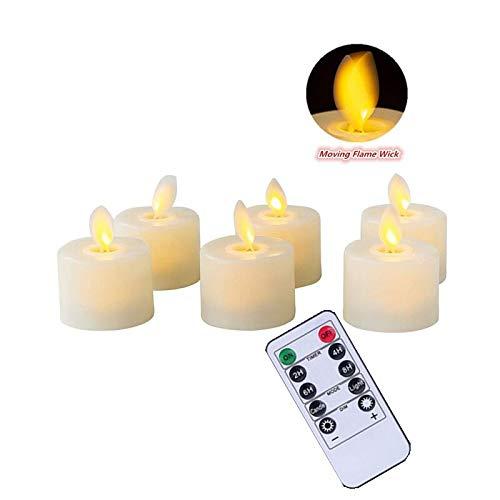 Juego de 6 velas LED con mando a distancia, sin llama, funciona con mecha móvil