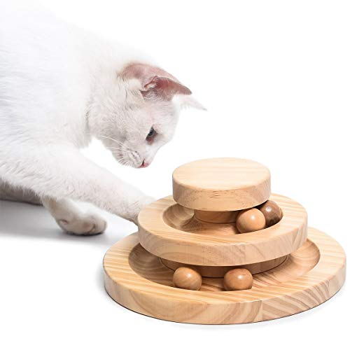 Morimoe Cat Funny Toy,Circle Track with Moving Balls,Wooden,Gift