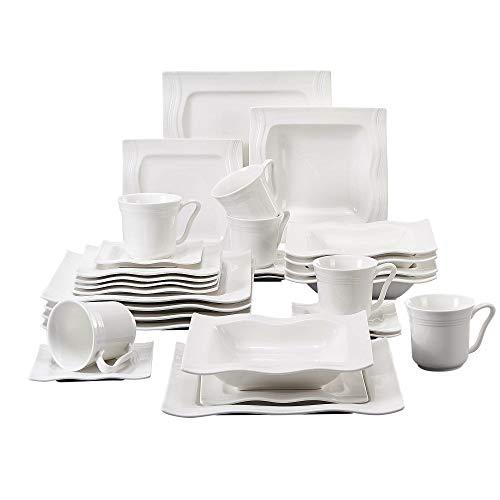 MALACASA, Serie Mario, 30-teilig Geschirrset Kombiservice aus Weißen Porzellan Keramik im Klassischen Design mit je 6 Kaffeetassen, 6 Untertassen, 6 Dessertteller, 6 Tiefteller und 6 Flachteller
