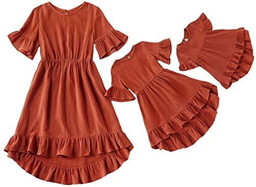 Eghunooye Mutter und Tochter Partnerlook Kleider,2020 Mama und Kind Sommerkleid Rundhals Rüschen Kurzarm Strandkleid Familie Kleidung Matching Outfits (Weinrot Baby, 9-12Monate)