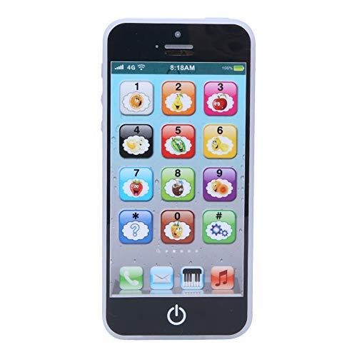 Poiy Téléphone Jouet pour Enfants, Jouet d'apprentissage éducatif téléphone USB Rechargeable téléphone Portable Jouet pour Enfants Enfants garçons et Filles s'ennuient pour la Sortie de Voyage(Noir)
