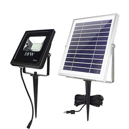 GU YONG TAO Proyectores solares de 10 vatios, Amplio Rango, fácil de Instalar, luz Impermeable al Aire Libre Ip66, Pared y Piso, 2 vías de instalación, con Control Remoto