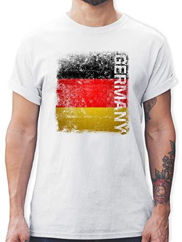 Fußball-Europameisterschaft 2021 - Germany Vintage Flagge - XL - Weiß - Tshirt Deutschland - L190 - Tshirt Herren und Männer T-Shirts