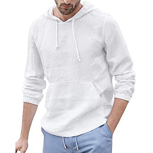 Xniral Herren Langarm Shirt Sommer Hooded Tops Einfarbig Oberteile mit Kapuze und Tasche Retro Leinen T Shirts Tops(Weiß,3XL)