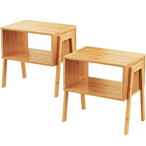 Pipishell comodino, comodino in bambù con 1 vano a giorno, comodino moderno con piedini in legno massello per soggiorno, camera da letto, cameretta, lavanderia, studio, camerette, set di 2