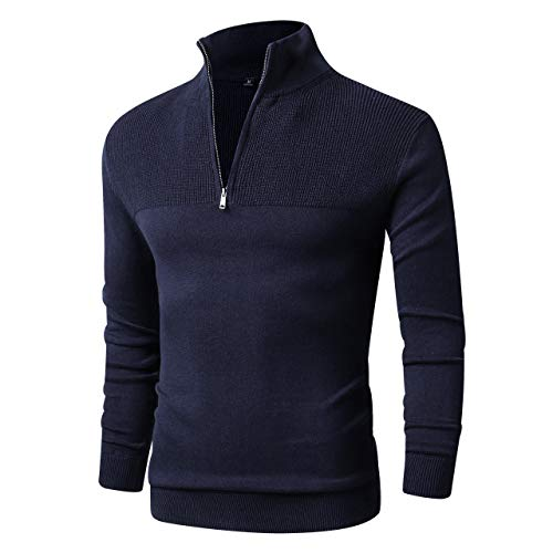 LTIFONE Men Sweater,Slim Zipper,Polo Sweater Casual Long Sleeve and Pullover with Ribbing Edge(Blue,M)