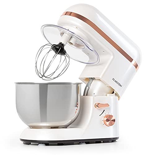 Klarstein Bella Elegance Küchenmaschine Rührmaschine, 1300W/1,7PS in 6 Leistungsstufen mit Pulsfunktion, Planetarisches Rührsystem, 5l Edelstahlschüssel, 3-tlg. Kupferfarbene Applikationen, weiß