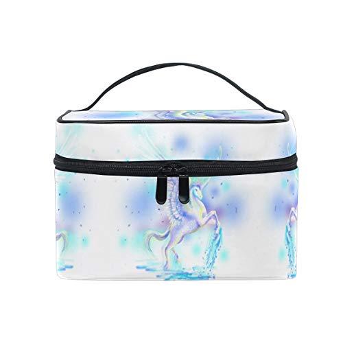 Sueño Caballo Blanco Unicornio Sac Cosmétique Organisateur Fermeture à Glissière Sacs Trousse de Maquillage Pochette Cas de Toilette pour Voyage Les Femmes Filles