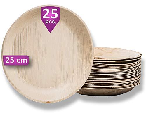 Waipur Bio Palmblattteller - 25 Teller Rund Ø 25 cm - Premium Einweggeschirr kompostierbar - Umweltfreundliches Partygeschirr - Palmblatt Geschirr