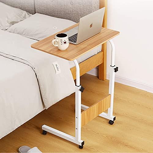 JiuXiuHeiShan-MY Mesa de cama médica, escritorio con ruedas, altura ajustable, embalaje plano, para el hogar y el hospital (color de madera)
