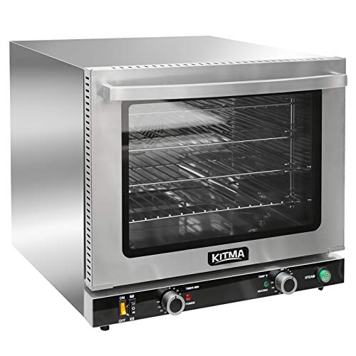 KITMA 66L Countertop Convection Oven – Commercial Toaster Oven with Steam Injection, 4 Racks, 2100W-2800W Efficient Heating, Stainless Steel, Silver