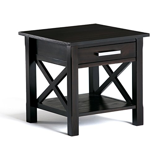 Simpli Home Kitchener SOLID WOOD 21 inch Wide Square Contemporary End Side Table in Dark Walnut Brown