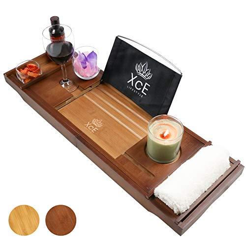 XcE Bathtub Caddy Tray (Brown) - Bamboo Wood Bath Tray and Bath Caddy for a Home Spa Experience