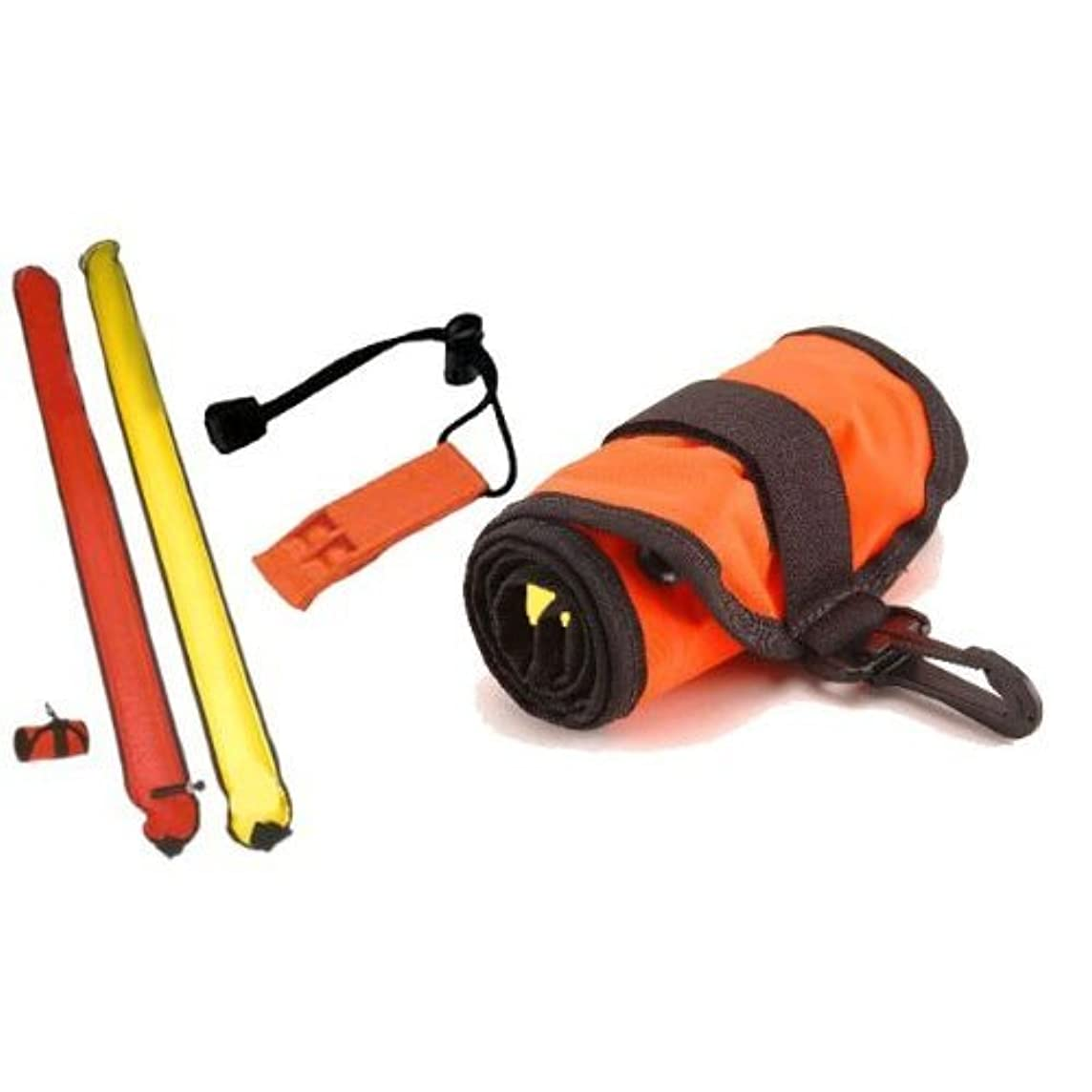 101SNORKEL 2 Tone / 4 ft Scuba Diving Dive Signal/Marker Tube with Inflator, (safety sausage)