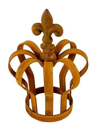 Metallkrone Lilie shabby Landhaus ca. 14 x 9,5 cm rost Antik Gartenkrone Rostkrone