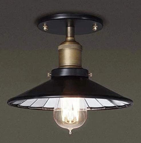 ZJ Plafond, Amerikaanse Countryside Retro Lampen Loft Industriële Stijl Woonkamer Balkon Aisle Iron Kleine Zwarte Rok Interieur Spiegel Plafond (Maat: 1 Hoofd), Zwart, Een Maat