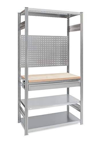 Werkstattregal mit Arbeitsplatte und Schublade, H = 2000 x B = 1360 x T = 635 mm