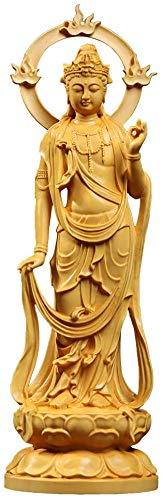 仏像 木彫り 勢至菩薩 守り本尊 木製彫刻 仏壇仏像 風水 開運 柘植の木 手作り (高さ23cm×巾7.6cm×奥行5.7cm)