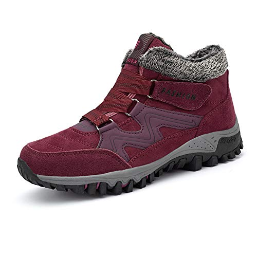 KUYG Zapatillas de correr para hombre, forro polar, cálidas, impermeables, altas, para senderismo y deporte, para hombre y mujer