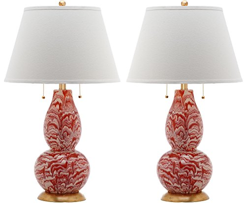 Safavieh Lighting Collection Color Swirls Orange and White 28.5-inch Table Lamp (Set of 2)