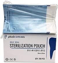 200 Self Sealing Sterilization Autoclave Pouch, 3.5 Inches x 5.25 Inches, Paper Blue Film, 1 Box
