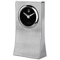 Bulova B5002 Obelisk Desk Clock, Brushed Aluminum Finish