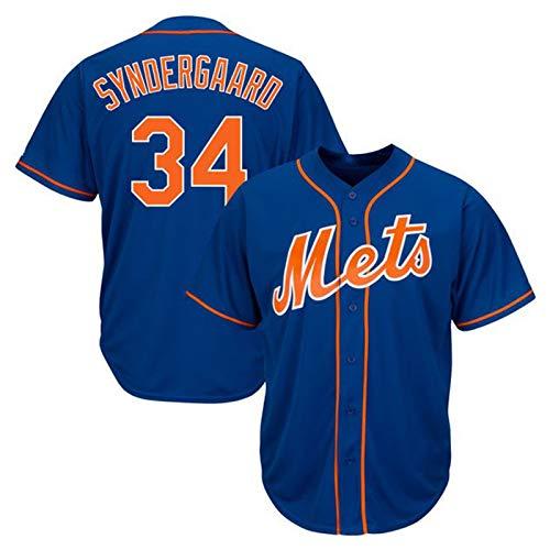 Syndergaard Baseball Shirt New York Mets # 34, Herren Druck Baseball Trikot, Kurzarm Spiel Team Uniform Button Top (M-XXXL)-Blue-XXL