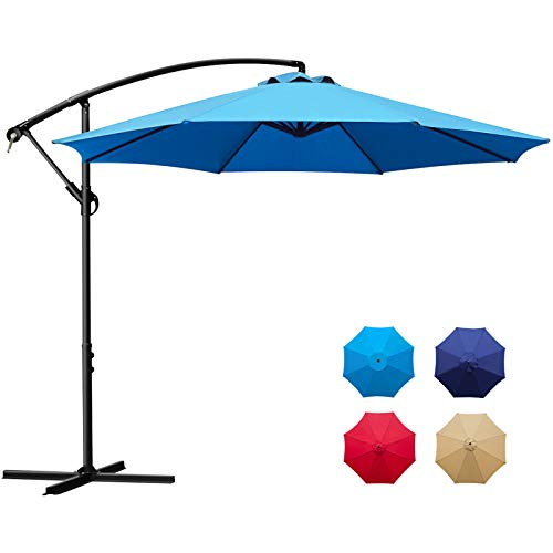 Sunnyglade 10Ft Outdoor Adjustable Offset Cantilever Hanging Patio Umbrella (Blue)