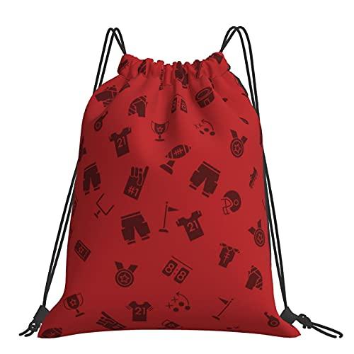 Drawstring Backpack Red American Football Pattern String Storage Bags Sports Yoga Gym Travel Swimming Sackpack For Men Women Girls