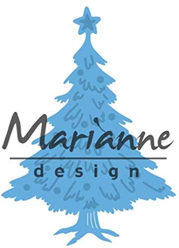 Marianne Design Creatables Tiny's Weihnachtsbaum dekoriert, Metall, Blau, 13 x 9.5 x 0.5 cm