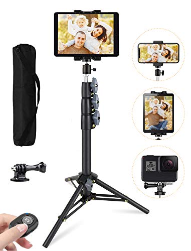 """Phone Tablet Tripod, 51"""" Extendable iPad Tripod Stand with Phone/Tablet Holder Mount, Wireless Remote and Carry Bag, Compatible with Tablet, Smartphone, GoPros, Camera, for Vlogging, Live Streaming"""