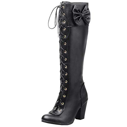 Zanpa Damen Sweet Bogen Lange Stiefel Block Absatzabsatz Kniehohe Stiefel Schnüren Cosplay Schuhe Kniestiefel Ladies Heels Black Size 48