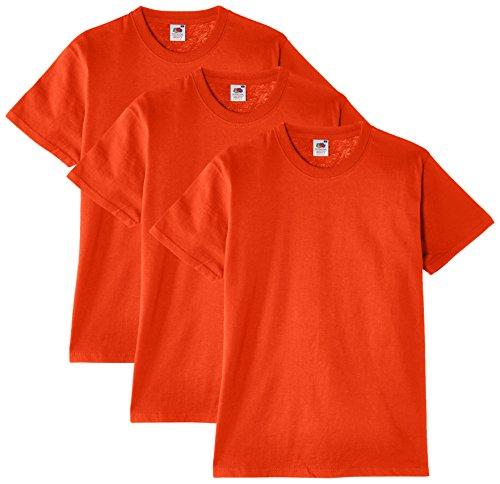 Fruit of the Loom Herren T-Shirt, 3er Pack, Gr. Small, Orange