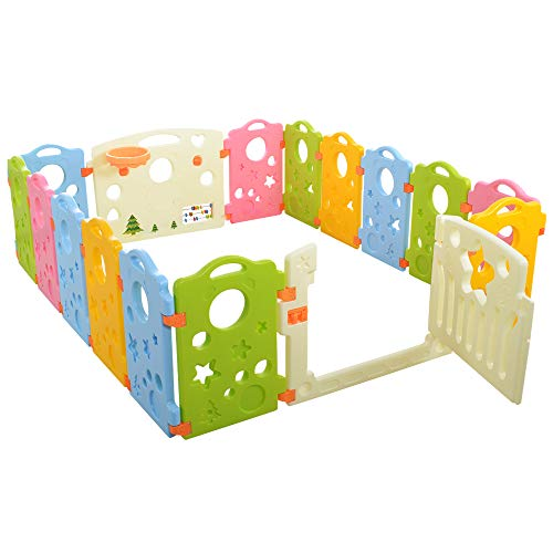 Ashtonbee Baby Playpen Activity Area Play Yard with Multicolor Indoor...