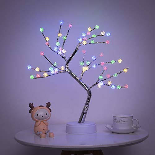 Cherry Blossom Bonsai Tree Light - 20'' Artificial Lighted Cherry Blossom Tree Lamp with 60 LED Cherry Blossom Lights - USB/Battery Touch Switch, for Kids Room Bedroom Party Wedding and Christmas