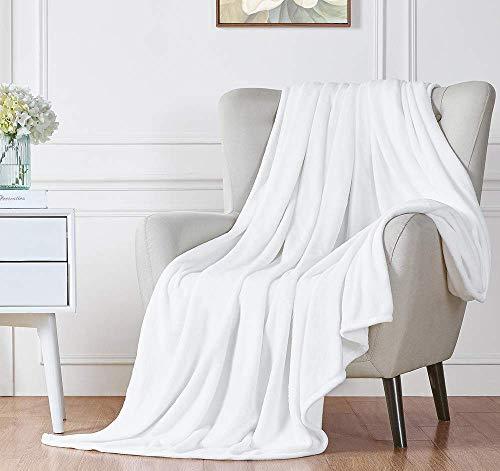 Skymico Decke Flanell Decke Super weiche und Flauschige Decke Leicht zu reinigen Geeignet für Sofa, Bett, Auto, Camping, Picknick (Weiß 200 x 230 cm)