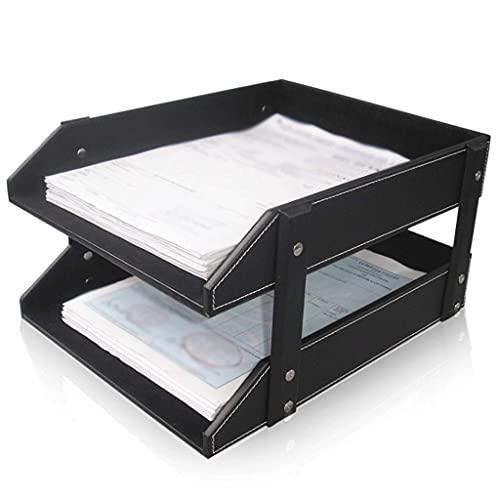Kontorsmaterial för företag Skrivbord Dubbel PU-filhållare A4-filfack (svartbrun) (Färg: svart)