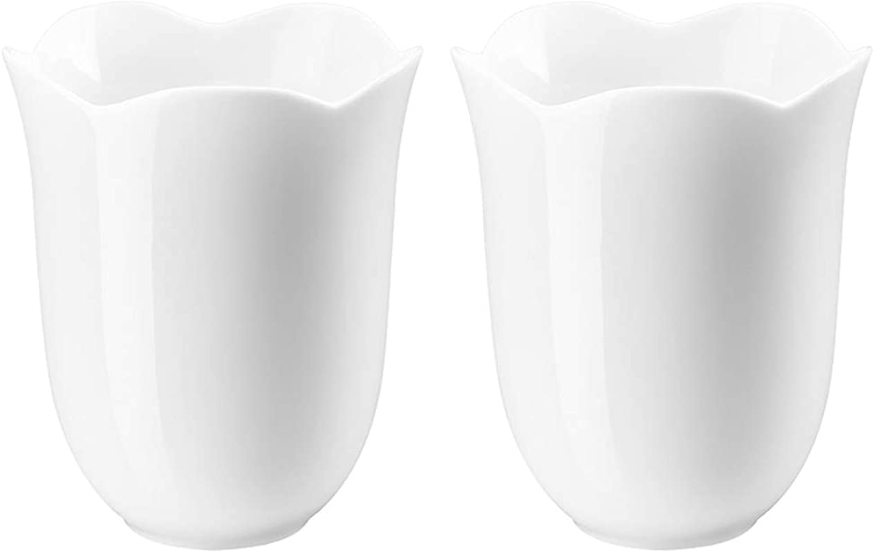 ZENS Teacup Set White Porcelain Chinese GongFu Tea Cup Mugs 6 8 Ounce Of 2 For Adults With Lotus Shape Rim