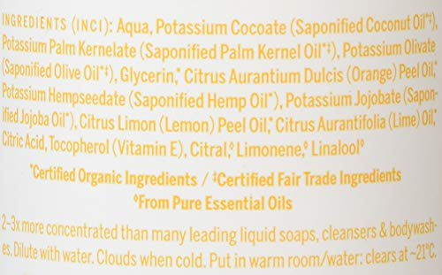 Dr. Bronner's Organic Liquid Soaps Citrus at Least 70% Organic, 16 Ounce