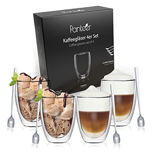 Panteer ® Kaffeegläser doppelwandig - 4x 350ml aus Borosilikatglas - mit 4 langen Löffeln - Latte Macchiato Gläser - Teegläser - Thermogläser doppelwandig (Ohne Henkel)